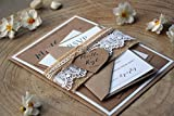 Burlap and Lace Wedding Invitation Kit, Personalized Wedding Invitations, Calligraphy Wedding Invitations, Modern Wedding Invitations - SAMPLE