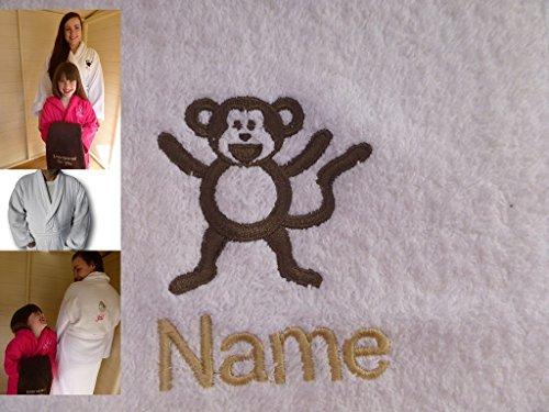 Adultos albornoz con un mono Logo y nombre de su elección en color blanco, tamaño M, L, XL o XXL, Blanco, mediano