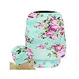 SHELLBOBO Nursing Shawl Baby Stretchy Car Seat Canopy High Chair Cover Floral Print (green)