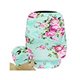 SHELLBOBO Nursing Shawl Baby Stretchy Car Seat Canopy High Chair Cover Floral Print (green)