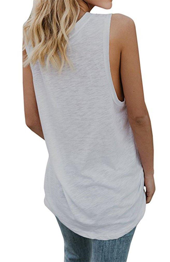 Women Sleeveless Long Casual Blouse V-Neck Solid Tops Long Tshits for Leggings White L