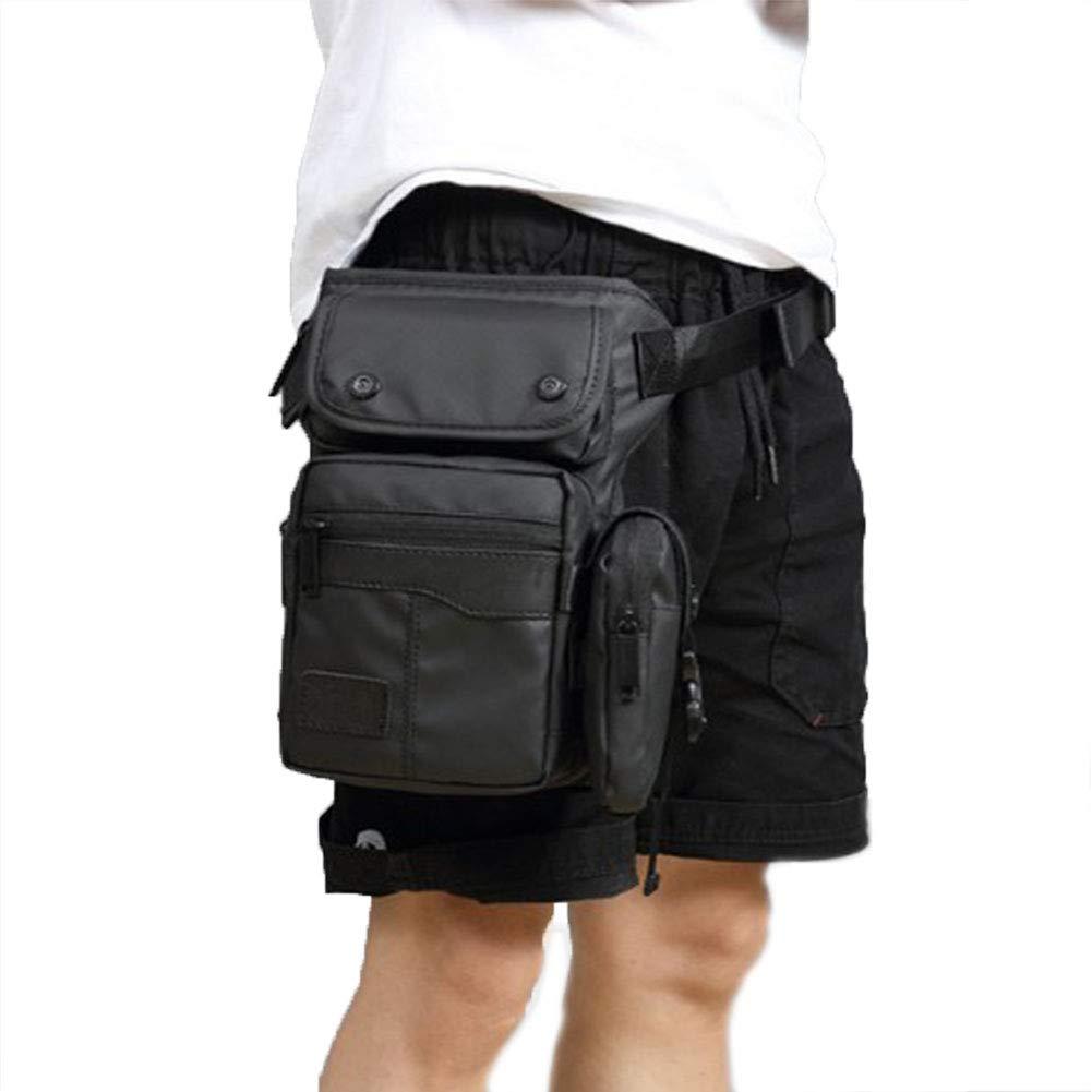 RANRANHOME Men Waterproof Oxford Leg Bag Military Tactical Riding Motorcycle Walking Cycling Black