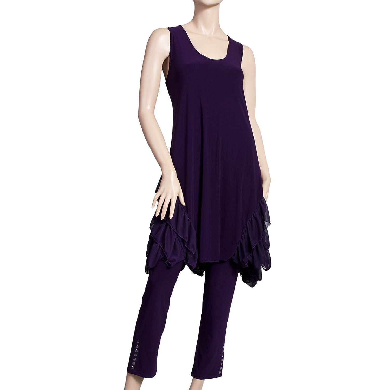 Rüschentrend Long Tunika Kleid dark-lila