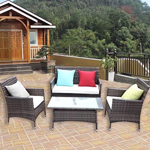 HTTH 4 PC Rattan Patio Furniture Set Garden Lawn Pool Backyard Outdoor Sofa Wicker Conversation Set with Weather Resistant Cushions and Tempered Glass Tabletop (9022-Mixed)