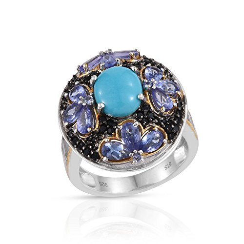 Sleeping Beauty Turquoise Multi Gemstone 14K YG and Platinum Plated Sterling Silver Ring Size 10 14k Yg Multi Gemstone