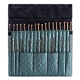 DeNOA Knitting Needle Storage Case - Crochet Hook Folding Organizer Travel Wrap - Teal