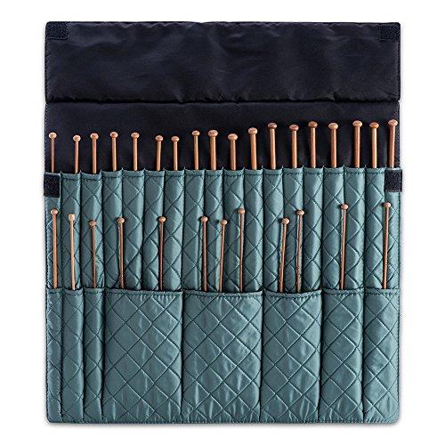 DeNOA Knitting Needle Storage Case - Crochet Hook Folding Organizer Travel Wrap - Teal by DeNOA