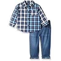 The Children's Place Baby-Boys Button-up Set, Blue, 6-9 months