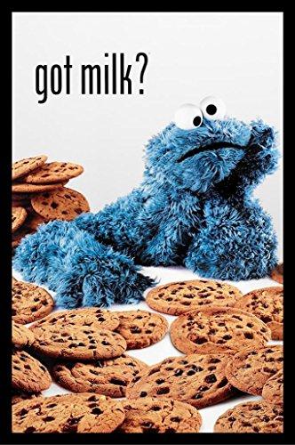 "Buyartforless IF IF PW 34151 36x24 1.25 Black Plexi Framed Cookie Monster Got Milk? Sesame Street Art Print Poster, 36"" X 24"""