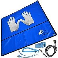 Minadax® 60 x 60 cm zestaw antystatyczny ESD: mata antystatyczna w kolorze niebieskim pasek na nadgarstek i kabel…