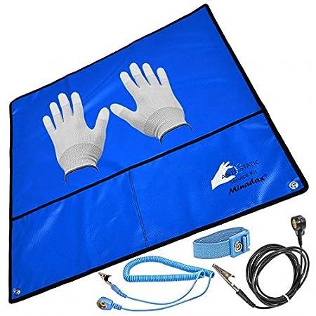 Minadax® 60 x 60cm Antistatik-Set: Antistatikmatte in Blau Handgelenksschlaufe und Erdungskabel + Antistatik Handschuhe - Fue