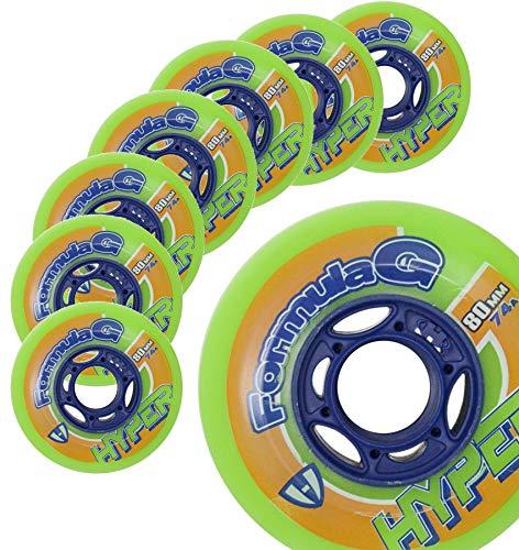 Hockey Skate Wheels Hyper Formula G ERA - 8 Wheels - 74A/76A - 80 MM (Green)