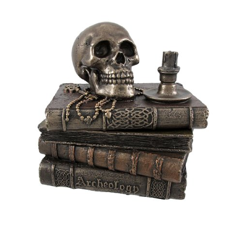 Veronese Design Bronze Wizard`s Study Books and Skull Trinket Stash Box