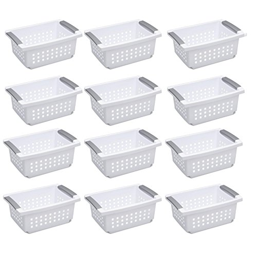 Sterilite Medium Sized White Stackable Storage & Organization Basket, 12 Pack