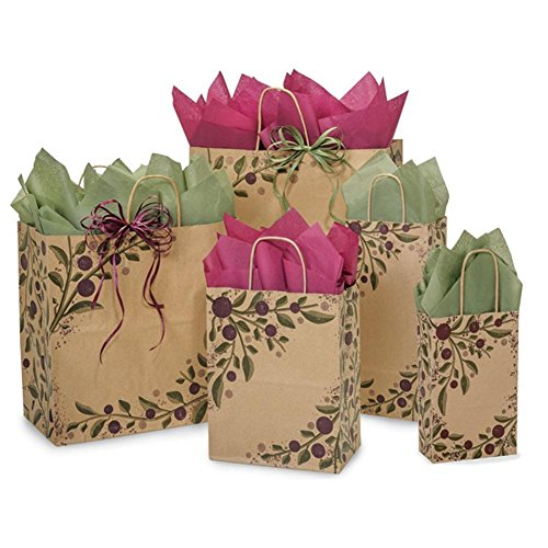 Tuscan Harvest Paper Shopping Bags - Assortment of 5 sizes - 300 Pack by NW