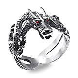 Michelle Gothic Punk Stainless Steel Dragon Ring with Red Diamond Eyes Biker Cubic Zirconia Rings,size 11
