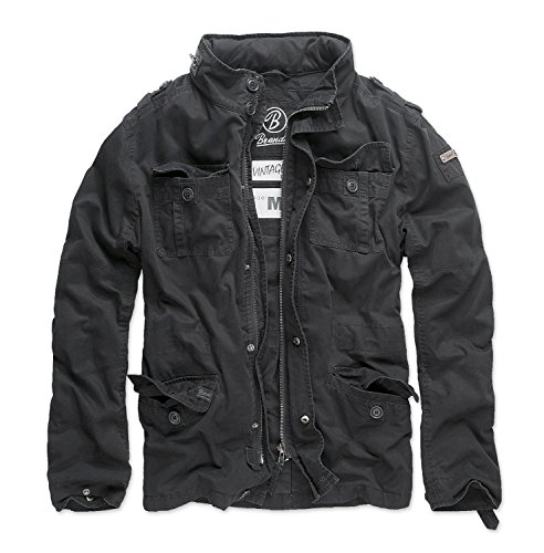 Brandit Men's Britannia Vintage Military M65 Style Short Army Lightweight Jacket Large Black