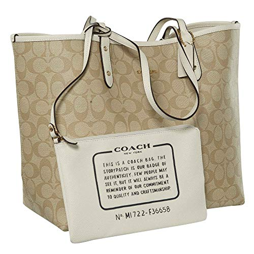 City Reversible F36609 Light Signature Tote Coach PVC Khaki 5qtxwdaCW