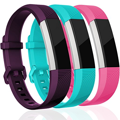 Maledan Replacement Bands Compatible for Fitbit Alta, Alta HR and Fitbit Ace, Classic Accessories Band Sport Strap for Fitbit Alta HR, Fitbit Alta and Fitbit Ace, 3-Pack, Plum/Rose Pink/Teal, Small