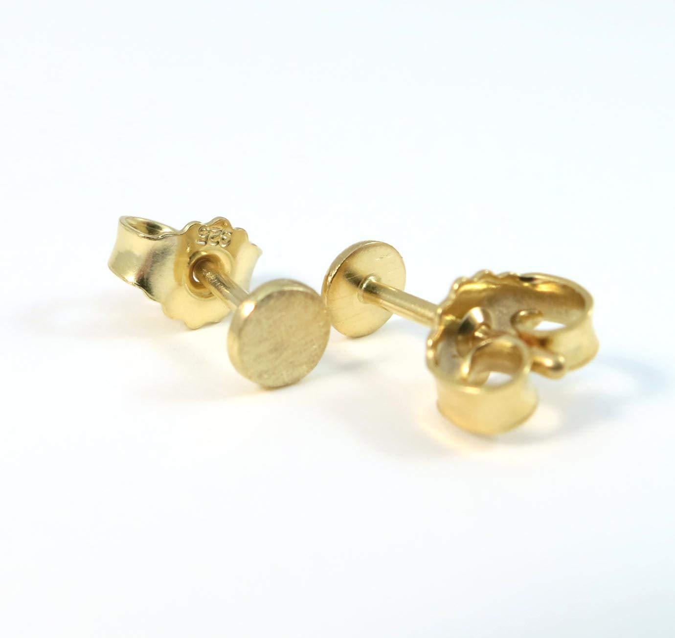 Ohrringe Dots mini Rund eismatt gelbgold vergoldet Sterlingsilber Handarbeit