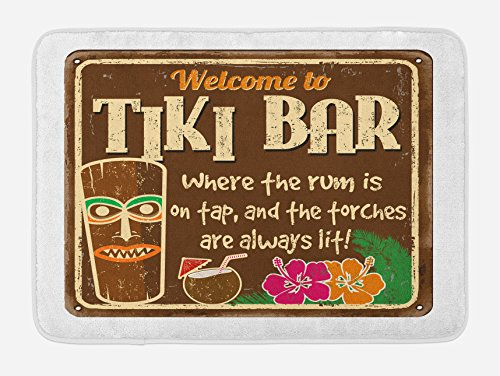 Ambesonne Tiki Bar Bath Mat, Aged Old Frame Sign of Tiki Bar with Inspirational Leisure Travel Print, Plush Bathroom Decor Mat with Non Slip Backing, 29.5 W X 17.5 L Inches, Multicolor