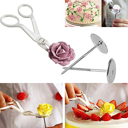 Orcbee  _3Pcs Piping Flower Scissors+Nail Icing Bake Cake Decorating Cupcake Pastry Tools