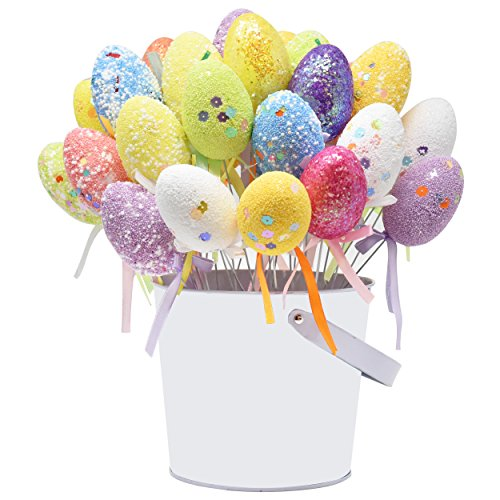Gift Boutique 36 Pack Foam Easter Egg Picks Decorative Sticks Pastel Colors Glittered and Painted for Table Home Wreath Crafts (Easter Table Centerpieces)
