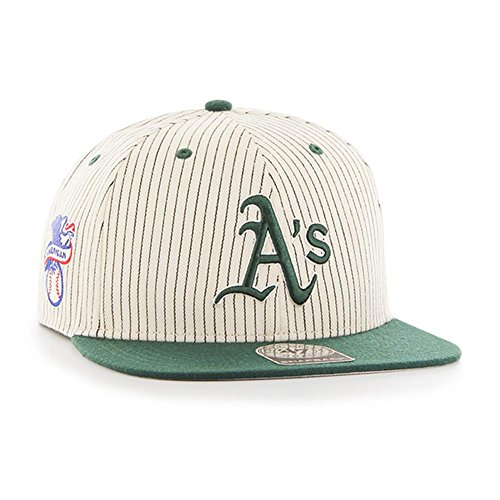 fan products of MLB Oakland Athletics Woodside '47 Captain Adjustable Snapback Hat, One Size, Beige/green