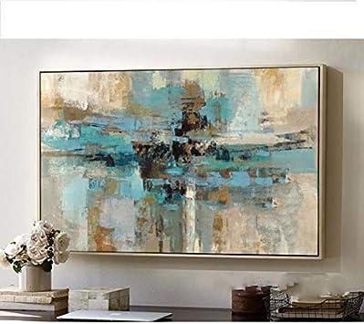 Pintado a mano, de estilo abstracto, original y contemporáneo, con ilustraciones grandes de color verde azulado., lona, azul, 32x48inch(80x120cm)