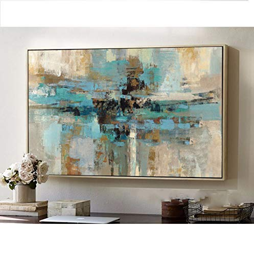 Original Contemporary Abstract Painting - Orlco Art Han Painted Original Abstract Modern Art Contemporary Painting Blue Green Wall Art Decorative Texture Large Artwork for Living Room Green 44x64inch Frameless