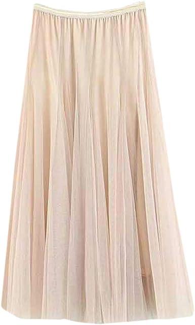 QinMMROPA Falda de Tul Plisada Elegante para Mujer, Falda Larga de ...