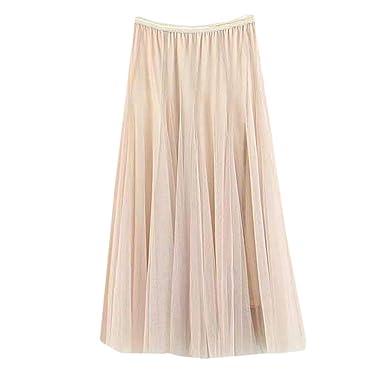 b19707cd372761 ZIMUUY Jupe Short,Femmes Filles Big Swing Tulle Plissée Longue Maxi ...