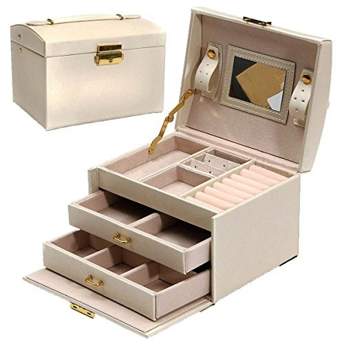 TOOGOO(R) Large Jewellery Box Armoire Dressing Chest with Clasps Bracelet Ring Organiser