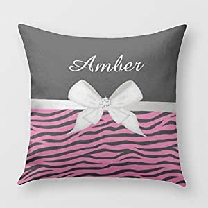 Hot Pink Zebra Stripe And Ribbon Throw Pillow Cover for Sofa or Bedroom