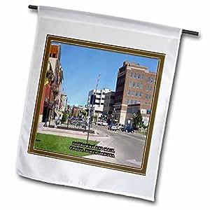 Sandy Mertens North Dakota - Broadway and Main in Fargo - 18 x 27 inch Garden Flag (fl_55288_2)