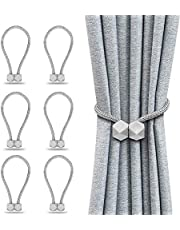 HangYu 6PCS Magnetic Curtain Tiebacks Clips Window Tie Backs Holders for Window Draperies Decorative Curtain Holdbacks Rope Holdbacks(Silver Gray)