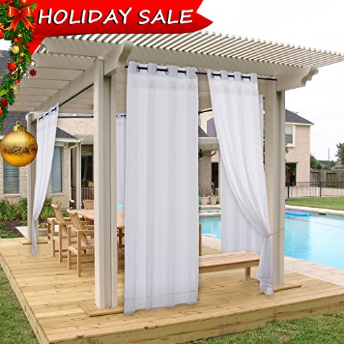 Pergola Drape Outdoor Curtain Panel - NICETOWN Light Filtering Mildew Resistant Sheer Voile Curtain with Silver Grommet Top (1 Pack with Rope Tieback, 54 Inch Wide by 108 Inch Long, White)