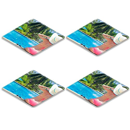 Liili Square Coasters Non-Slip Natural Rubber Desk Pads young beautiful woman in straw hat relaxing in spa pool 28797868 by Liili (Image #1)