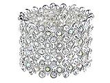 Alilang Wide Stretch Statement Open Cuff Bracelet Aurora Borealis Crystal Clear Rhinestone