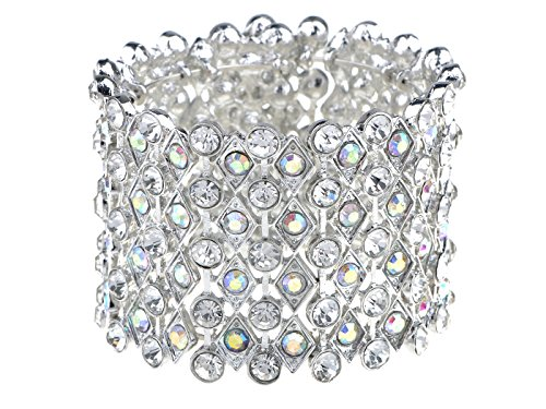 (Alilang Womens Silvery Bridal Prom Vintage Crystal Rhinestone Stretch Wide Open Cuff Bangle Bracelet)