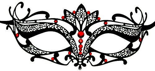 [Luxury Mask Women's Laser Cut Metal Tiara Venetian Pretty Masquerade Mask, Black/Red Stones, One] (Red Masquerade Mask)