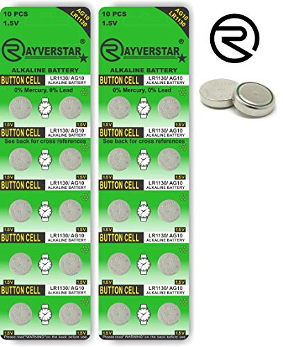Rayverstar LR1130 AG10 1.5V Alkaline, 20 Batteries Fits: L1131, 189, 389, 390, 534, 554, 603 (List Below) 1.5v Dc Silver Battery