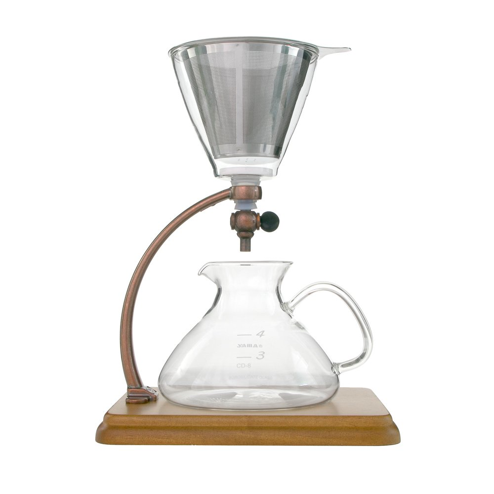 Yama Silverton Hot or Cold Coffee Dripper, Copper/Wood 18 oz. by Yama Glass