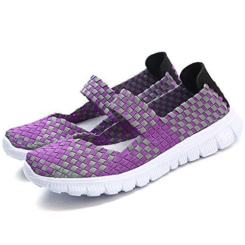 Loafer Leicht Freizeit Handarbeit Schuhe Elastisch Gewebte Schlüpfen VILOCY Damen Sneaker Wohnungen Lila Mode qCwYTYR