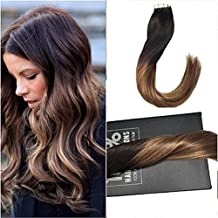 Sunny 22inch 20pcs/50g Tape In Hair Extensions Ombre Black Fade to Chocolate Brown Mixed Caramel Blonde Silky Straight 100% Remy Brazilian Human Hair