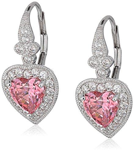 - Platinum-Plated Sterling Silver Swarovski Zirconia Fancy Pink Antique Heart Drop Earrings