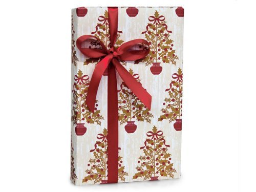 Christmas Tree Wrap (Elegant HOLLY BERRY TREES Christmas Holiday Gift Wrap Paper - 16 Foot Roll)
