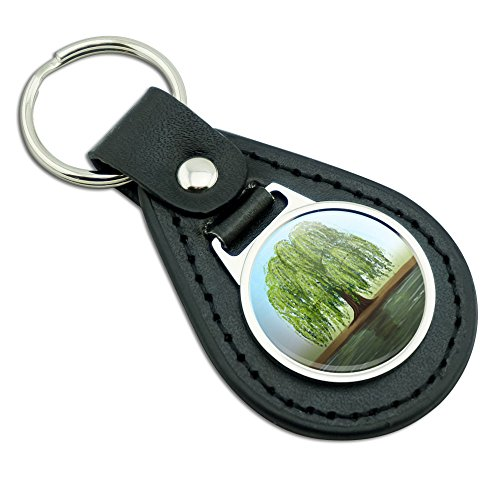 Old Weeping Willow Tree Black Leather Metal Keychain Key ...
