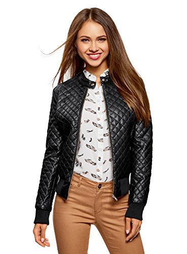 oodji Collection Femme Veste Matelasse en Simili Cuir Noir (2900n)