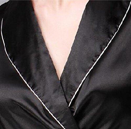 Nobile Sezione Vestito Parola Pigiama Servizio TX Black Estate Seta Di Femminile Maniche A Casual Lunghe Pantaloni Di Filatura Casa Due Black A XL NEIYI Seta Lussuoso Moda Sottile Pigiama Pezzi qgwAxA0EY